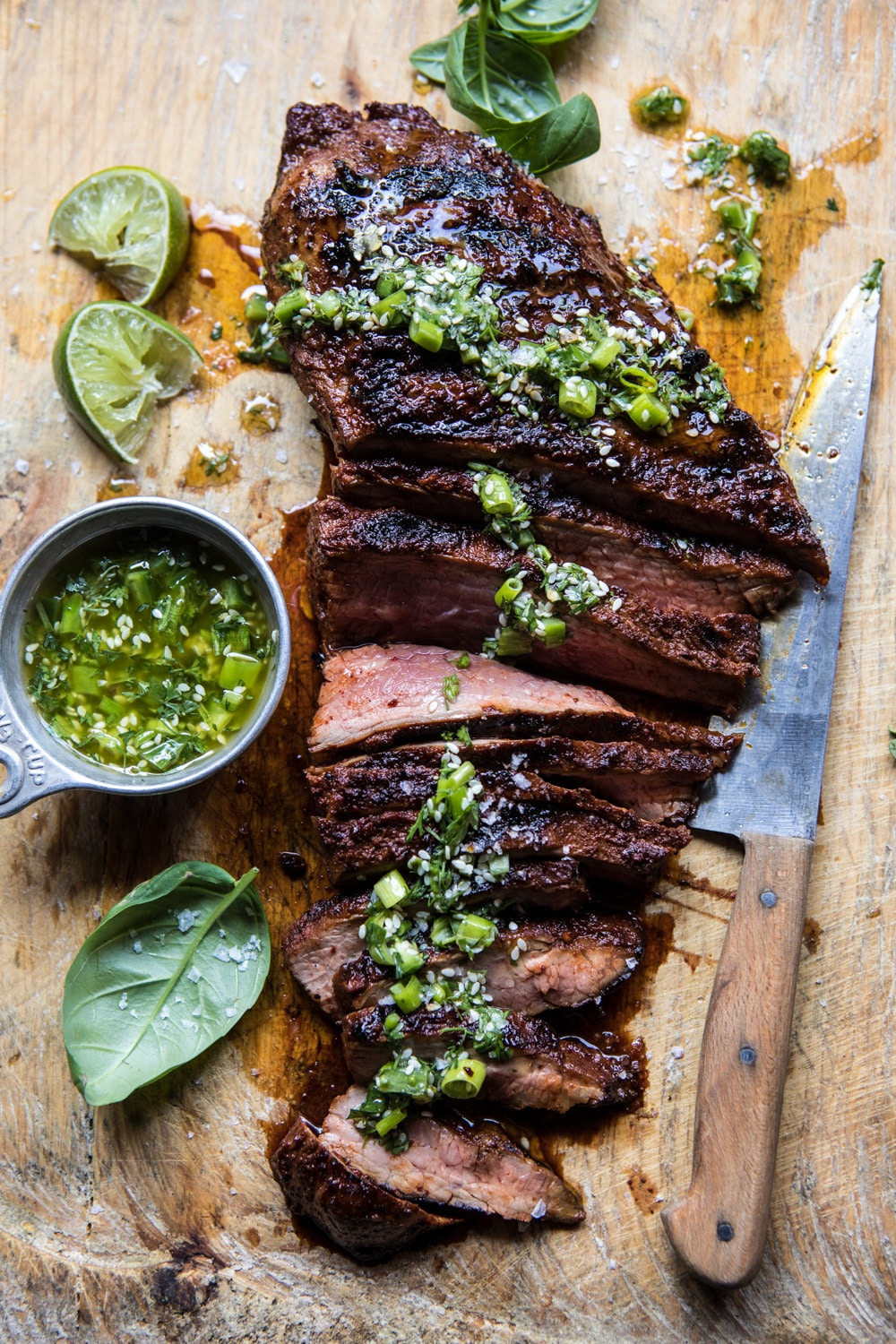 Korean Grilled Steak with Toasted Sesame Chimichurri. banner backdrop