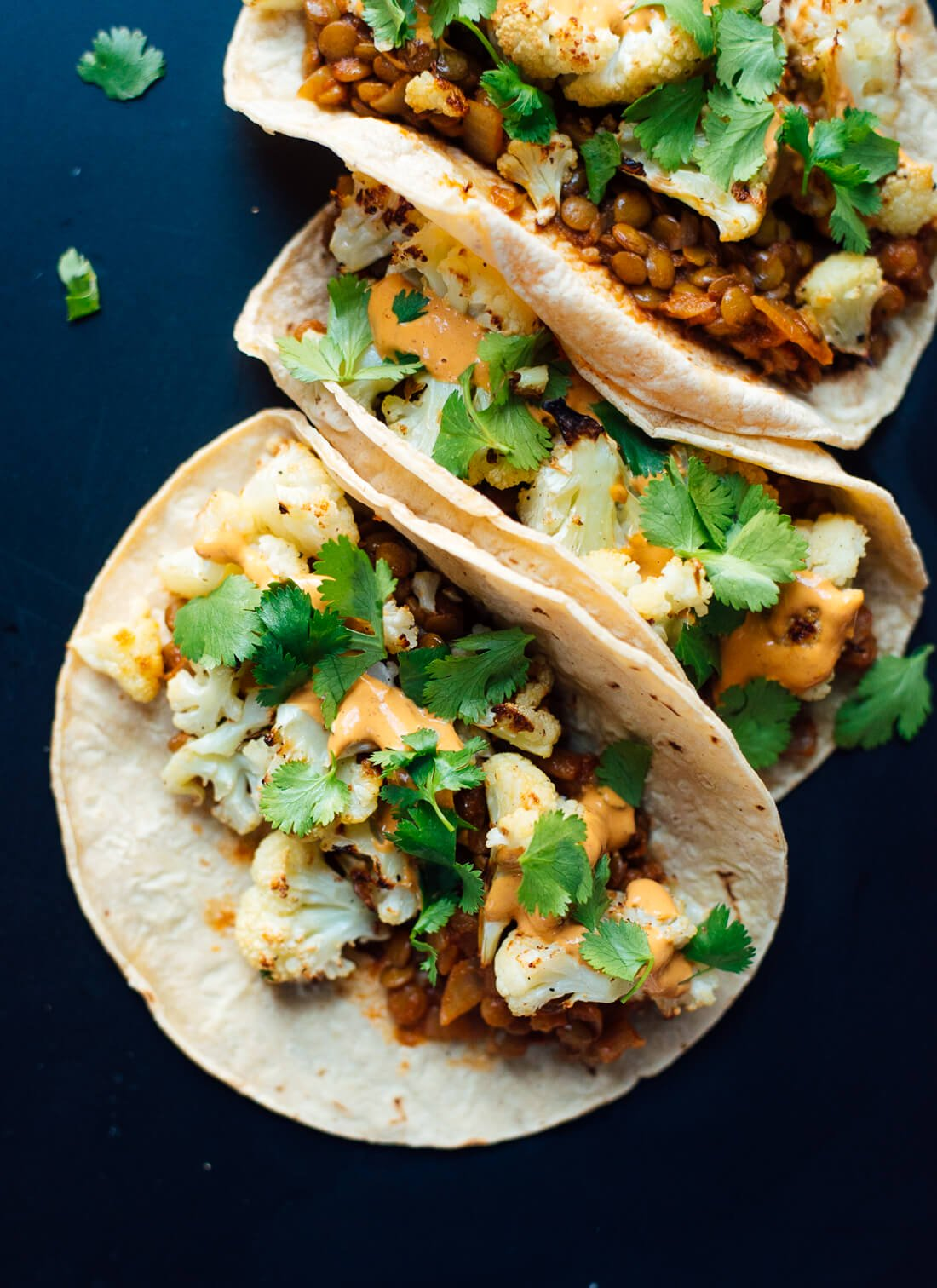 Roasted Cauliflower and Lentil Tacos - Cookie and Kate banner backdrop
